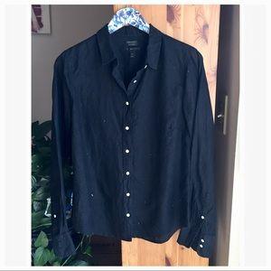 J. Crew Black Irish Linen Slim Perfect Shirt, 12